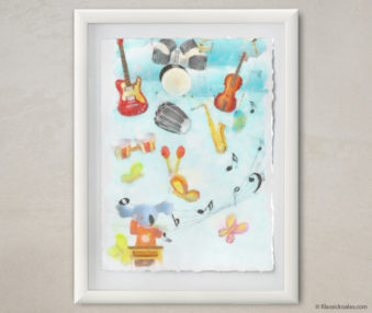 Happy Koalas Watercolor Pastel Painting 12-by-16 Inches White Frame 31