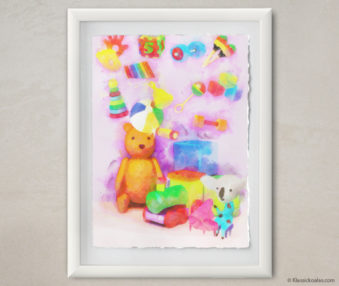 Happy Koalas Watercolor Pastel Painting 12-by-16 Inches White Frame 32