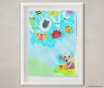Happy Koalas Watercolor Pastel Painting 12-by-16 Inches White Frame 34