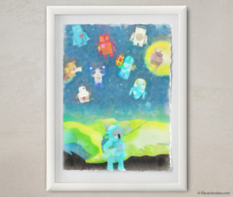 Happy Koalas Watercolor Pastel Painting 12-by-16 Inches White Frame 36