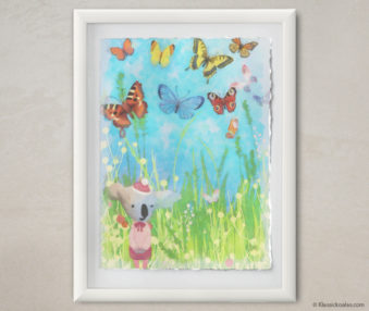 Happy Koalas Watercolor Pastel Painting 12-by-16 Inches White Frame 4