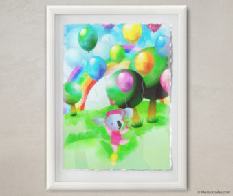Happy Koalas Watercolor Pastel Painting 12-by-16 Inches White Frame 47