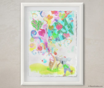Happy Koalas Watercolor Pastel Painting 12-by-16 Inches White Frame 6