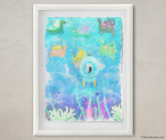 Happy Koalas Watercolor Pastel Painting 12-by-16 Inches White Frame 8
