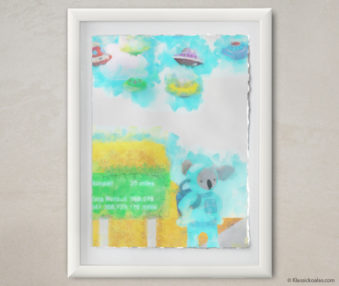 Happy Koalas Watercolor Pastel Painting 12-by-16 Inches White Frame 9
