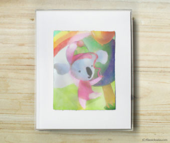 Happy Koalas Watercolor Pastel Painting 8-by-10 Inch Frame 1
