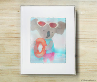 Happy Koalas Watercolor Pastel Painting 8-by-10 Inch Frame 11