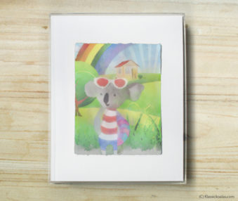 Happy Koalas Watercolor Pastel Painting 8-by-10 Inch Frame 12