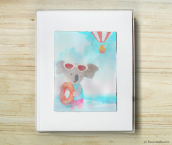Happy Koalas Watercolor Pastel Painting 8-by-10 Inch Frame 20