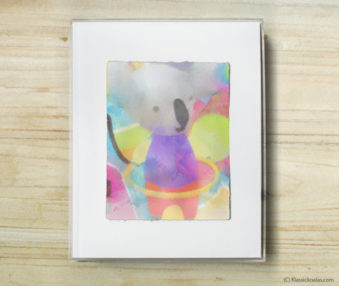 Happy Koalas Watercolor Pastel Painting 8-by-10 Inch Frame 25