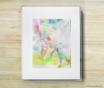 Happy Koalas Watercolor Pastel Painting 8-by-10 Inch Frame 26