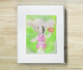 Happy Koalas Watercolor Pastel Painting 8-by-10 Inch Frame 29