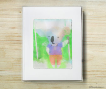 Happy Koalas Watercolor Pastel Painting 8-by-10 Inch Frame 33