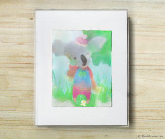 Happy Koalas Watercolor Pastel Painting 8-by-10 Inch Frame 34