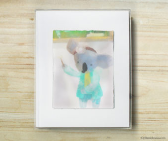 Happy Koalas Watercolor Pastel Painting 8-by-10 Inch Frame 40