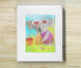 Happy Koalas Watercolor Pastel Painting 8-by-10 Inch Frame 41