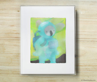 Happy Koalas Watercolor Pastel Painting 8-by-10 Inch Frame 43