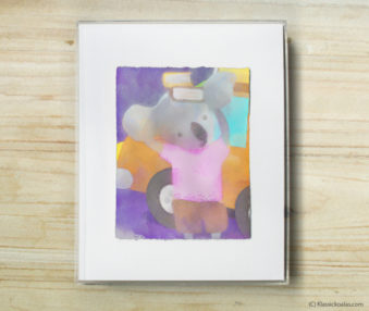 Happy Koalas Watercolor Pastel Painting 8-by-10 Inch Frame 44