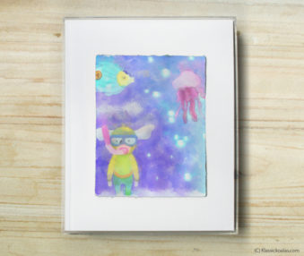 Happy Koalas Watercolor Pastel Painting 8-by-10 Inch Frame 47