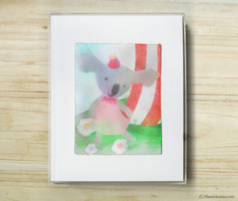 Happy Koalas Watercolor Pastel Painting 8-by-10 Inch Frame 49