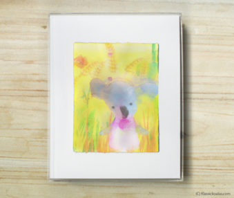 Happy Koalas Watercolor Pastel Painting 8-by-10 Inch Frame 50