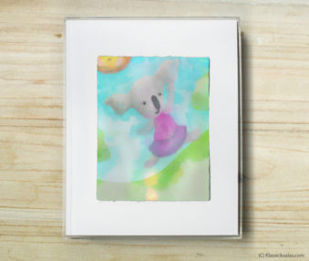 Happy Koalas Watercolor Pastel Painting 8-by-10 Inch Frame 51