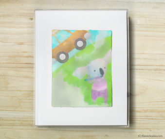 Happy Koalas Watercolor Pastel Painting 8-by-10 Inch Frame 57