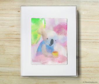 Happy Koalas Watercolor Pastel Painting 8-by-10 Inch Frame 58