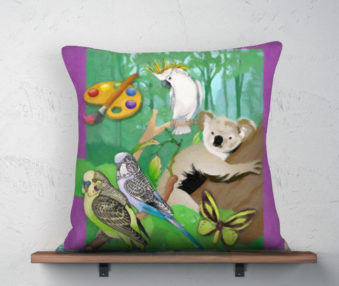 Koala Coloring Book Linen Pillow Case 22-by-22-inches