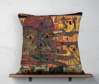 Koala Museum Hundertwasser Linen Pillow 22-by-22 Inches