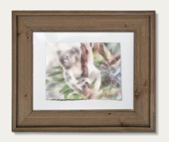 Koala Watercolor Painting 11-by-14 Barnwood Frame H 1