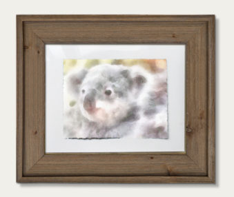 Koala Watercolor Painting 11-by-14 Barnwood Frame H 7