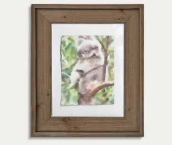 Koala Watercolor Painting 11-by-14 Barnwood Frame V 1