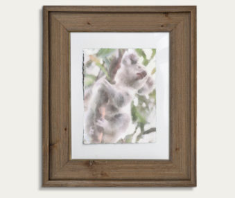 Koala Watercolor Painting 11-by-14 Barnwood Frame V 8