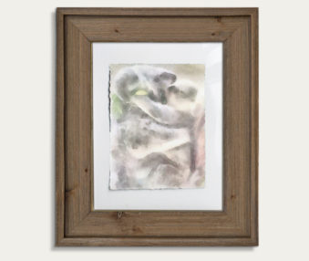 Koala Watercolor Painting 11-by-14 Barnwood Frame V 9