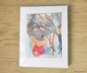 Magic Koalas Watercolor Pastel Painting 11-by-14 Inch Frame 38