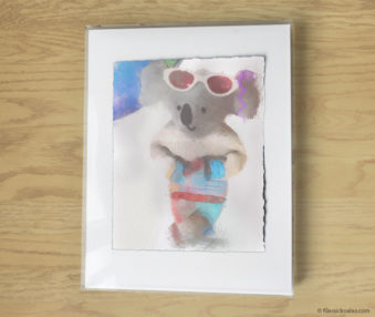 Magic Koalas Watercolor Pastel Painting 11-by-14 Inch Frame 55