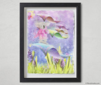 Magic Koalas Watercolor Pastel Painting 12-by-16 Inch Black Frame 26