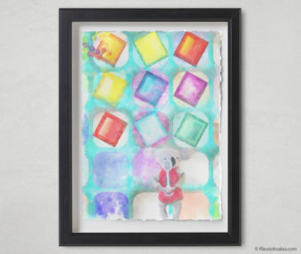 Magic Koalas Watercolor Pastel Painting 12-by-16 Inch Black Frame 32