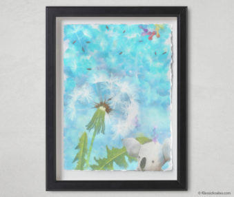 Magic Koalas Watercolor Pastel Painting 12-by-16 Inch Black Frame 37