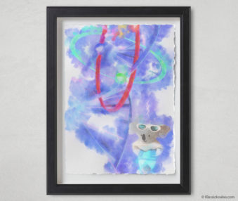 Magic Koalas Watercolor Pastel Painting 12-by-16 Inch Black Frame 39