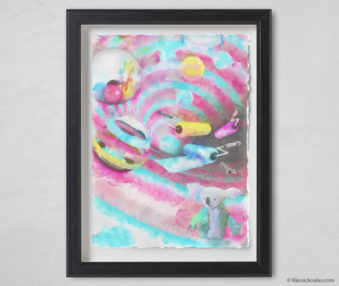 Magic Koalas Watercolor Pastel Painting 12-by-16 Inch Black Frame 45