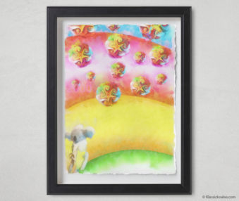 Magic Koalas Watercolor Pastel Painting 12-by-16 Inch Black Frame 46