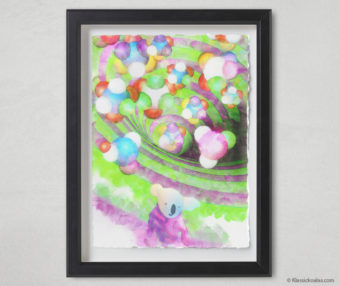 Magic Koalas Watercolor Pastel Painting 12-by-16 Inch Black Frame 48