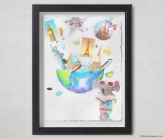 Magic Koalas Watercolor Pastel Painting 12-by-16 Inch Black Frame 55