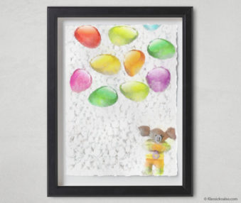 Magic Koalas Watercolor Pastel Painting 12-by-16 Inch Black Frame 57