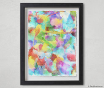 Magic Koalas Watercolor Pastel Painting 12-by-16 Inch Black Frame 58