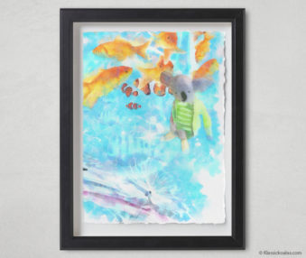 Magic Koalas Watercolor Pastel Painting 12-by-16 Inch Black Frame 59