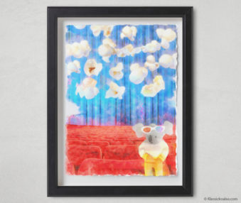Magic Koalas Watercolor Pastel Painting 12-by-16 Inch Black Frame 65