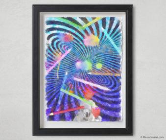 Magic Koalas Watercolor Pastel Painting 12-by-16 Inch Black Frame 72